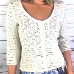 Lucky Brand Pointelle Knit Scoop Neck Cardigan